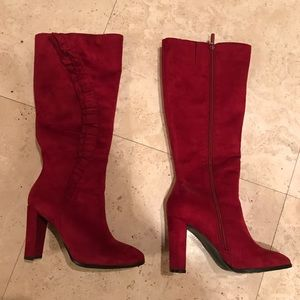 BERRY FAUX SUEDE BOOTS